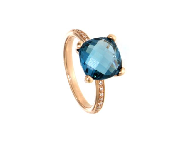 Anello oro 750 con topazio blu London e diamanti 0.07 ct