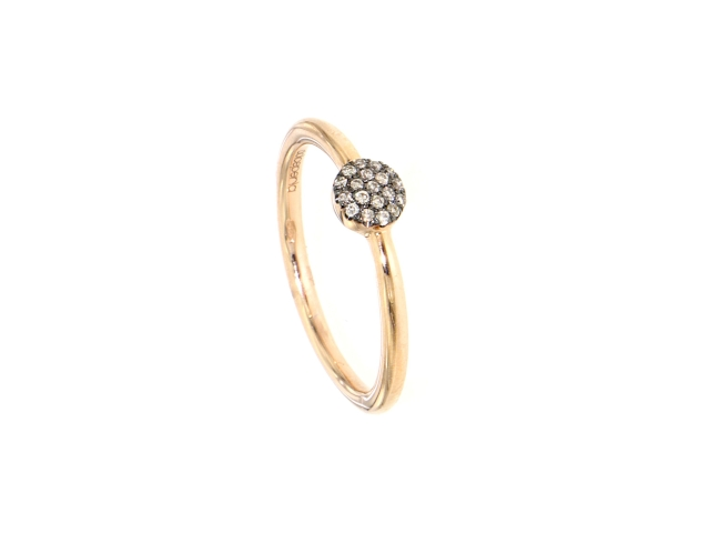 Ring Rotgold 750 mit braunen Diamanten 0.077 ct