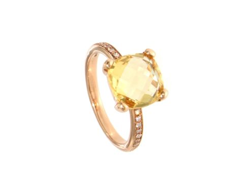 Anello oro 750 con citrino e diamanti 0.07 ct