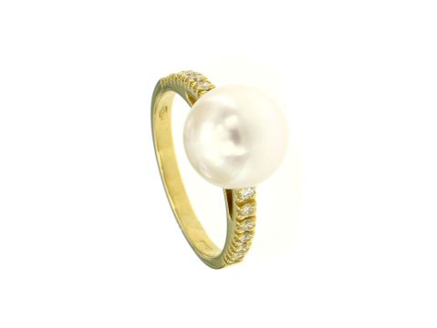 Anello oro giallo con perla coltivata 9.5 mm e diamanti 0.12 ct