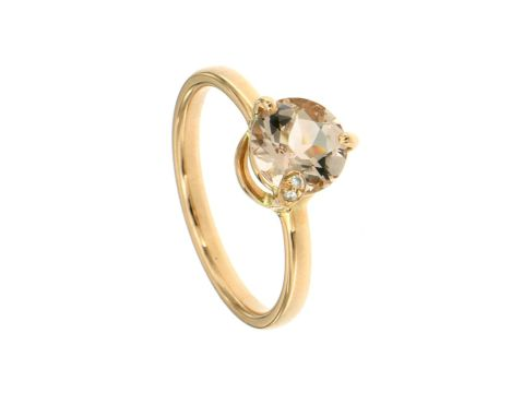 Anello oro rosa con  morganite e diamanti 0.01 ct