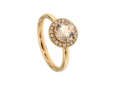 Ring Rotgold 750 mit Morganite und Diamanten 0.10Karat