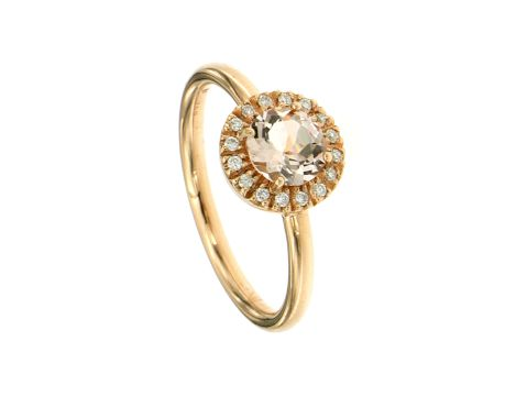 Ring Rotgold 750 mit Morganite und Diamanten 0.08 Karat